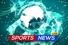 Las noticias de los deportes viven con el mapa del mundo África y Europa Imagen de archivo