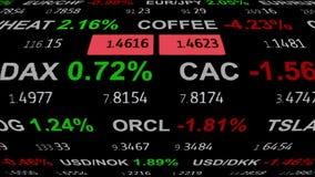 Las noticias del tablero del teletipo de la materia del índice del mercado de acción de las divisas alinean en el fondo negro - n ilustración del vector