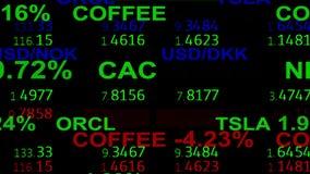 Las noticias del tablero del teletipo de la materia del índice del mercado de acción de las divisas alinean en el fondo negro - n stock de ilustración