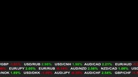 Las noticias del teletipo del mercado de acción de las divisas alinean en el fondo negro - vídeo de movimiento dinámico animado d ilustración del vector