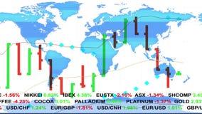 Las noticias del teletipo del mercado de acción de las divisas alinean y mapa olográfico de la tierra en el fondo - negocio finan libre illustration
