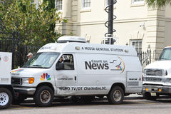 Las noticias locales colocan el camión por satélite, Charleston, Carolina del Sur Fotos de archivo libres de regalías
