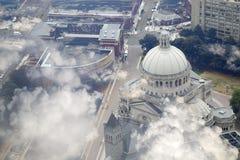 Las nubes obscurecen el centro de la ciudad de la ciudad Boston Fotos de archivo libres de regalías