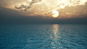 Las nubes pesadas están flotando sobre el océano en la puesta del sol 3D-rendering libre illustration