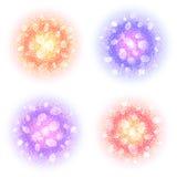 Las nubes redondas abstractas del polvo fijaron con párticulas de polvo en el fondo blanco Círculos coloridos con resplandor y bo Fotografía de archivo