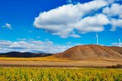 Las nubes y la colina del blanco en los prados Fotos de archivo libres de regalías