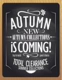 Las nuevas colecciones del otoño están viniendo, ejemplo de la tiza de pizarra Imagen de archivo libre de regalías