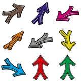 Nueve flechas 3d Ilustración del Vector