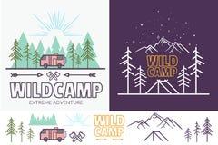 Las obozowa liniowa wektorowa ilustracja z namiotem, góry, drzewa, chmura, słońce Campingowej podróży turystyki kreatywnie grafik Zdjęcie Royalty Free