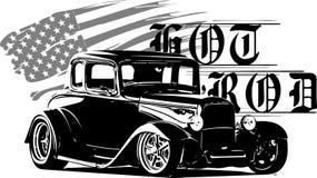 Las obras clásicas del coche de carreras, originales del hotrod, ruidosamente y ayunan compitiendo con el equipo, coche de los co stock de ilustración