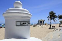 Las Ola海滩标志 免版税库存图片