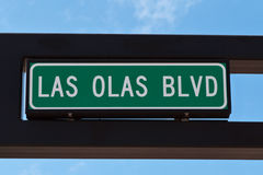 Las Olas boulevard sign in Fort Lauderdale, Florida. stock photos