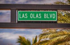 Las Olas Boulevard street sign in Fort Lauderdale, Florida.  Royalty Free Stock Image