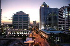 Las Olas cityscape at dusk. Skyline view of hotel and traffic on Los Alas in Fortt. Lauderdale, Florida at dusk Stock Photo