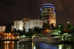 Las Olas Riverfront. Night scene along the waterfront Royalty Free Stock Photography