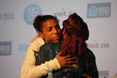 Las Olimpiadas sin racismo en brasileño se divierten conferencia Fotos de archivo