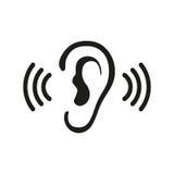 Las ondas acústicas audios de la audición del oído que escuchan vector el icono Imagenes de archivo