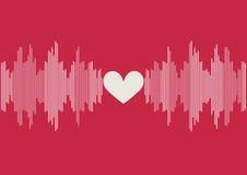 Las ondas acústicas barran el ejemplo en fondo rosado con la forma blanca del corazón Imagenes de archivo