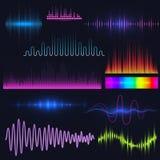 Las ondas audios del equalizador digital de la música del vector diseñan el ejemplo de la visualización de la señal audio de la p Imagen de archivo