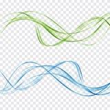 Las ondas azules y verdes abstractas fijaron en un fondo transparente stock de ilustración