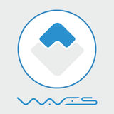 Las ondas descentralizaron el logotipo del vector de la plataforma del criptocurrency del blockchain Fotos de archivo