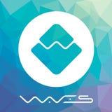 Las ondas descentralizaron el logotipo del vector de la plataforma del criptocurrency del blockchain Imagen de archivo