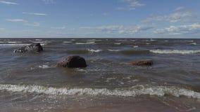 Las ondas lavan las piedras en la orilla del mar Báltico en un día ventoso del verano metrajes