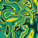 Las ondas pintadas acrílico de mármol verde de la textura de la tinta texturizan el fondo Fotos de archivo