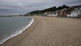 Las ondas que traslapan la orilla Lyme Regis varan Dorset Inglaterra Reino Unido almacen de video
