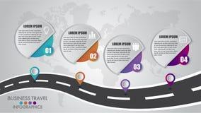 Las opciones de la plantilla 4 de Infographics de la cronología diseñan con una manera de camino y un lugar navegacional de los i ilustración del vector