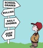 Las opciones diarias del niño stock de ilustración
