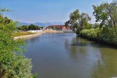 Las opiniones Jordan River Trail con los árboles circundantes, la aceituna rusa, el cottonwood y el légamo llenaron el agua fango foto de archivo