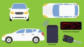 Las opiniones y los accesorios del coche aislaron diseño plano libre illustration