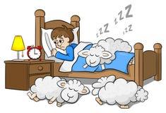 Las ovejas caen dormido en la cama de un hombre insomne ilustración del vector