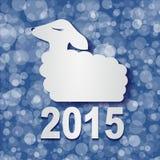 Las ovejas 2015 de la Feliz Año Nuevo diseñan vector de la tarjeta Imagen de archivo