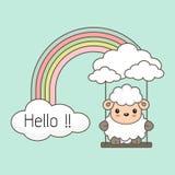 Las ovejas lindas balancean en un arco iris Ejemplo colorido del vector de la fantas?a ilustración del vector