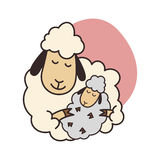 Las ovejas miman con el cordero en el fondo blanco Imagenes de archivo