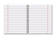 Las páginas abiertas del espacio en blanco reservan con la plantilla del espiral del metal de la carpeta Una hoja de papel en lín Fotografía de archivo