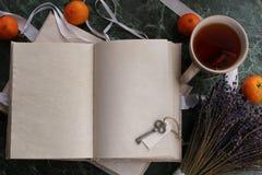 Las páginas abrieron el libro del vintage en encimera de mármol verde Fotografía de archivo