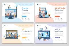 Las páginas del aterrizaje diseñan Disposición de diseño móvil creativa del desarrollo de la PC de la agencia de publicidad de la ilustración del vector