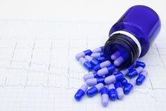 Las píldoras azules reducen ritmo cardíaco foto de archivo libre de regalías