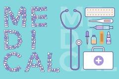 Las píldoras coloridas hacen tabletas cápsulas con los iconos de las herramientas del equipamiento médico Imagenes de archivo
