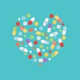 Las píldoras y las tabletas fijaron aislado en fondo en forma del corazón stock de ilustración