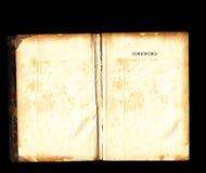 Las paginaciones en blanco abiertas del libro viejo de la vendimia ennegrecen el fondo imágenes de archivo libres de regalías