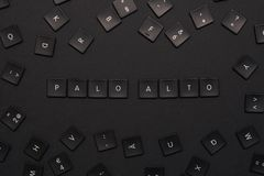 Las palabras 'Palo Alto 'montaron de llaves de teclado negras foto de archivo libre de regalías