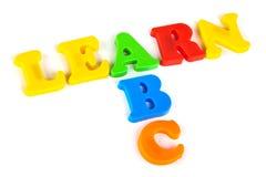 Las palabras aprenden y ABC Foto de archivo libre de regalías