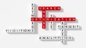 Las palabras claves de la optimización del Search Engine desconciertan en el diseño plano blanco ilustración del vector