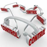Las palabras de control conectaron procedimiento de sistema eléctrico de las flechas Imagenes de archivo