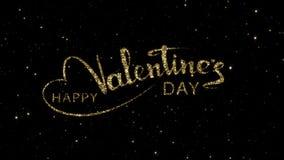 Las palabras de día de San Valentín de las partículas del oro formadas en un día de fiesta animaron el fondo almacen de metraje de vídeo