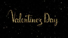 Las palabras de día de San Valentín de las partículas del oro formadas en un día de fiesta animaron el fondo
